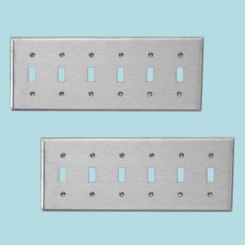 <PRE>2 Switchplate Brushed Stainless Steel Six Toggle </PRE>zoom2