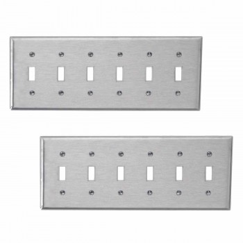 <PRE>2 Switchplate Brushed Stainless Steel Six Toggle </PRE>zoom1