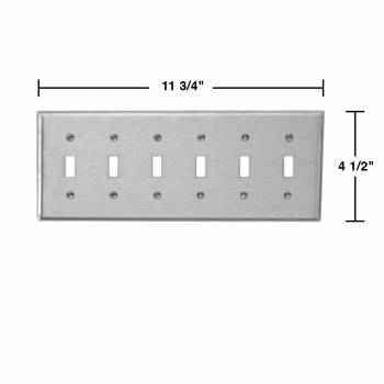spec-<PRE>2 Switchplate Brushed Stainless Steel Six Toggle </PRE>