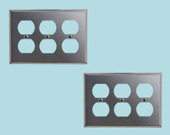 <PRE>2 Switchplate Brushed Stainless Steel Triple Outlet </PRE>zoom2