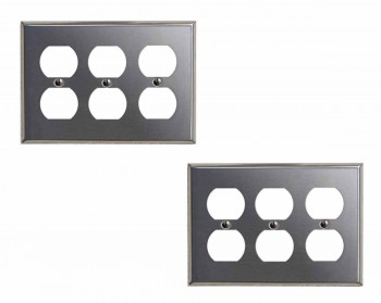 <PRE>2 Switchplate Brushed Stainless Steel Triple Outlet </PRE>zoom1