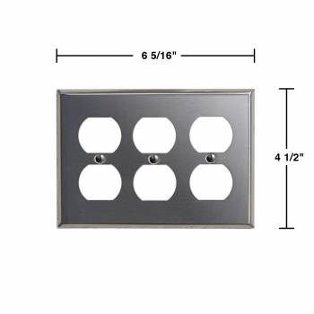 spec-<PRE>2 Switchplate Brushed Stainless Steel Triple Outlet </PRE>