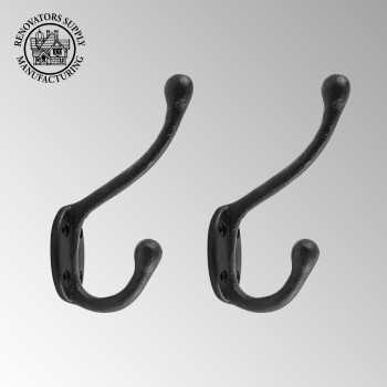 Wrought Iron Double Hook Black for Coats Towels Robes 2 Pack
