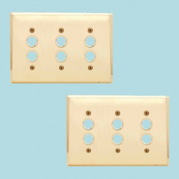spec-<PRE>2 Switchplate Bright Solid Brass Triple Pushbutton </PRE>