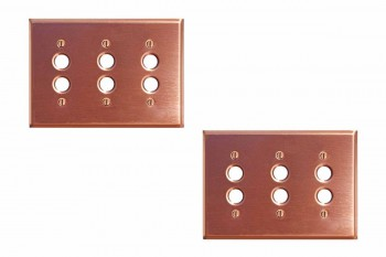 2 Switchplate Brushed Solid Copper Triple Pushbutton Switch Plate Wall Plates Switch Plates