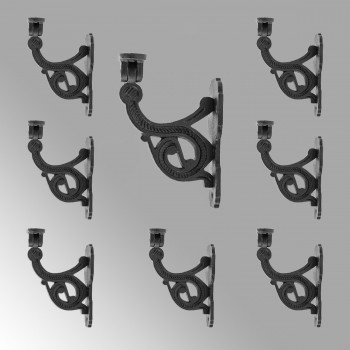 Black RSF Iron Hand Rail Bracket Rust Resistant Finish Pack of 8