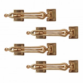 4 Door Security Safety Guard Lock Latch Heavy Solid Brass Hooks Decorative Hook Coat Hook