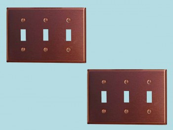 <PRE>2 Switchplate Brushed Solid Copper Triple Toggle </PRE>zoom2