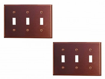 <PRE>2 Switchplate Brushed Solid Copper Triple Toggle </PRE>zoom1