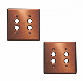 2 Switchplate Brushed Solid Copper Double Pushbutton Switch Plate Wall Plates Switch Plates