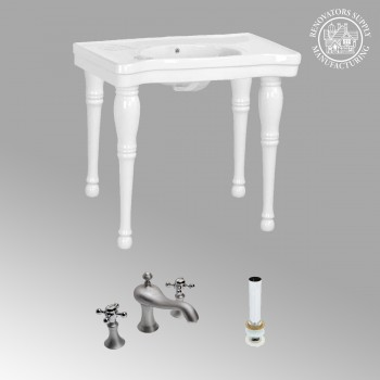 <PRE>Renovator's Supply White Bathroom Console Sink Belle Combo Set with Faucet</PRE>zoom2