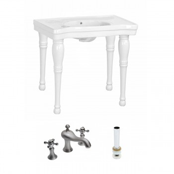 Renovator's Supply White Bathroom Console Sink Belle Combo Set with Faucet86831grid