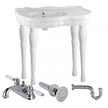 Console Sink White Southern Belle Spindle Wall Mount with Faucet, Drain & P-Trap86847grid