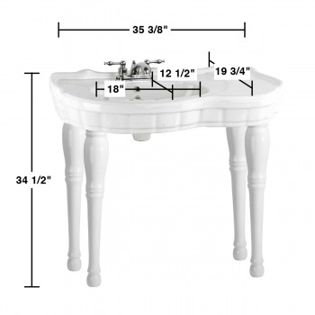 spec-<PRE>Console Sink White Southern Belle Spindle Wall Mount with Faucet, Drain & P-Trap</PRE>