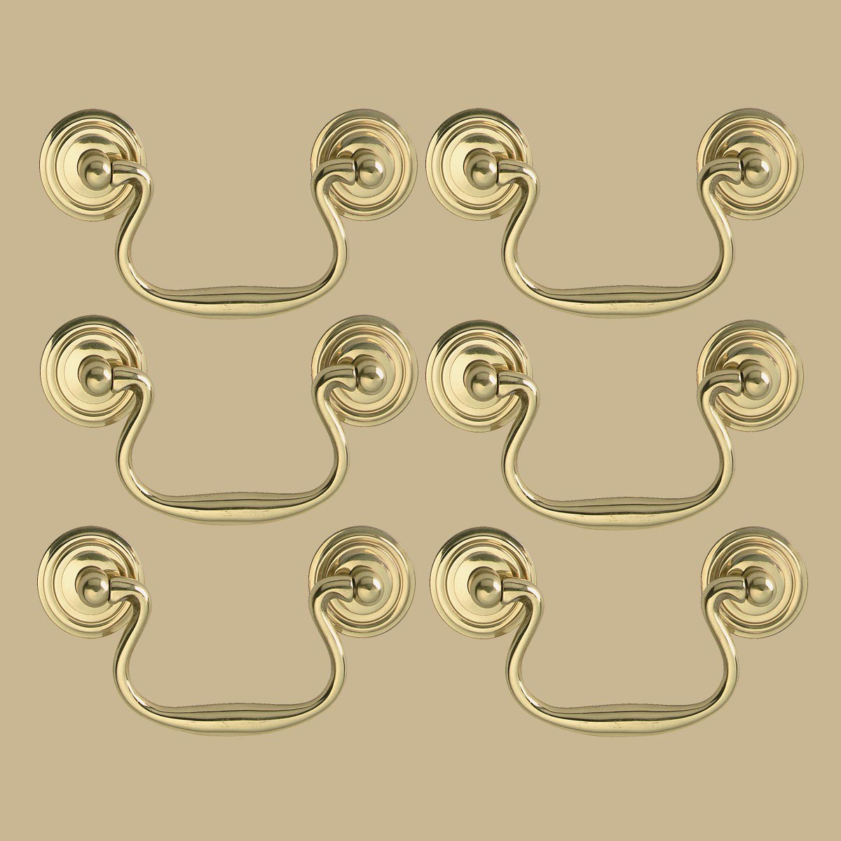 """6 Solid Brass Bail Pulls Classic Ring Rosettes 3"""""""
