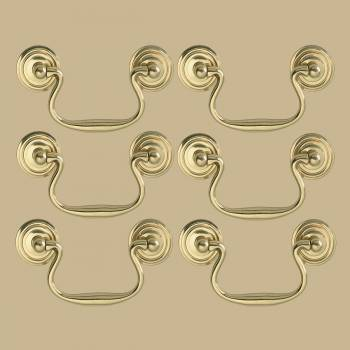 <PRE>6 Solid Brass Bail Pulls Classic Ring Rosettes 3&quot; </PRE>