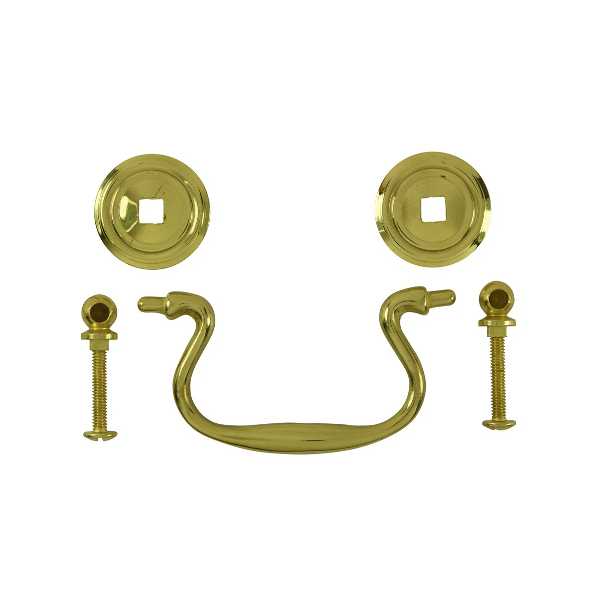 6 Solid Brass Bail Pulls Classic Ring Rosettes 3 Furniture Hardware Cabinet Pull Cabinet Hardware
