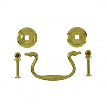 <PRE>6 Solid Brass Bail Pulls Classic Ring Rosettes 3inch </PRE>zoom3