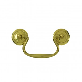 <PRE>6 Solid Brass Bail Pulls Classic Ring Rosettes 3inch </PRE>zoom4