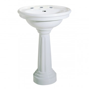<PRE>White Ceramic Freestanding Pedestal Sink with 8inch Faucet,Drain & P Trap</PRE>zoom3