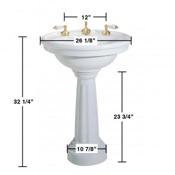 "spec-<PRE>White Ceramic Freestanding Pedestal Sink with 8"" Faucet,Drain & P Trap</PRE>"