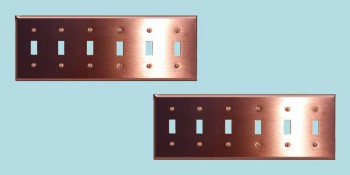 <PRE>2 Switchplate Brushed Solid Copper Six Toggle </PRE>zoom2
