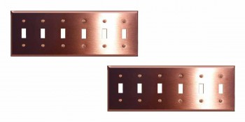 <PRE>2 Switchplate Brushed Solid Copper Six Toggle </PRE>zoom1