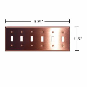 spec-<PRE>2 Switchplate Brushed Solid Copper Six Toggle </PRE>