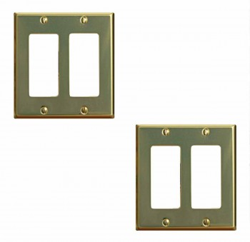 2 Switchplate Bright Solid Brass Double GFI outlet plate Wall Plates Switch Plates