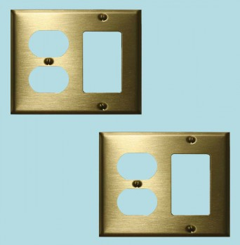 <PRE>2 Switchplate Brushed Solid Brass Outlet GFI </PRE>zoom2