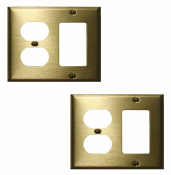 <PRE>2 Switchplate Brushed Solid Brass Outlet GFI </PRE>zoom1