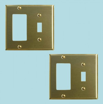 <PRE>2 Switchplate Brushed Brass GFI Toggle </PRE>zoom2