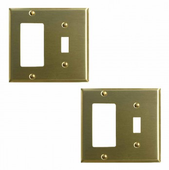 <PRE>2 Switchplate Brushed Brass GFI Toggle </PRE>zoom1