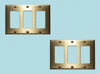 2 Switchplate Brushed Solid Brass Triple GFI Switch Plate Wall Plates Switch Plates