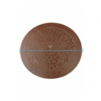 spec-<PRE>2 Chair Seats Tan Leather Round 12&quot; Dia Embossed Set of 2 </PRE>