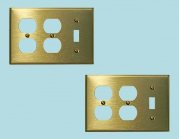 <PRE>2 Switchplate Brushed Solid Brass Toggle Double Outlet </PRE>zoom2