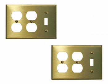 <PRE>2 Switchplate Brushed Solid Brass Toggle Double Outlet </PRE>zoom1