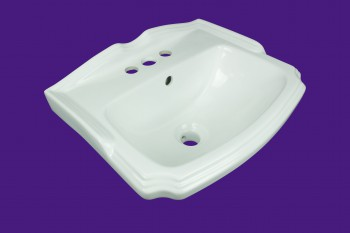 <PRE>Small Wall Mount Bathroom Sink White China Centerset with Overflow </PRE>zoom2