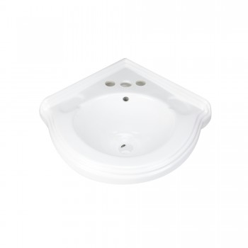 Corner Wall Mount Small Bathroom Sink White Ceramic Porcelain ''Portsmouth''87333grid