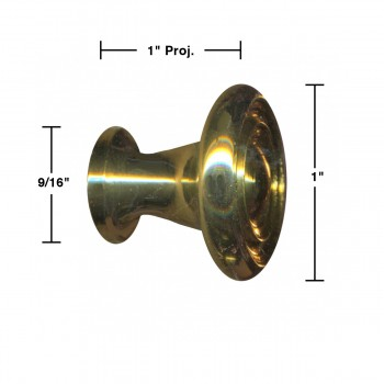 """spec-<PRE>6  Cabinet Knob Bright Solid Brass Spooled 1"""" Dia </PRE>"""