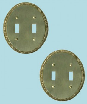 <PRE>2 Solid Brass Switchplate Double Toggle Oval Braided </PRE>zoom2