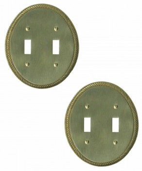 2 Bright Solid Brass Oval Braided Double Toggle switch plate