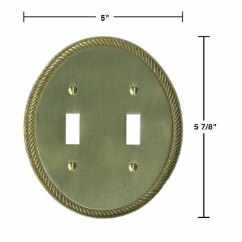 spec-<PRE>2 Solid Brass Switchplate Double Toggle Oval Braided </PRE>