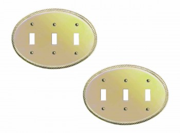 2 Bright Solid Brass Oval Braided Triple Toggle switch plate