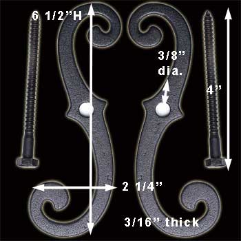 "spec-<PRE>6 Shutter Dog Pairs Set Black Aluminum Scroll 6-1/2"" </PRE>"