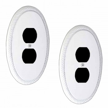 2 White Solid Brass Oval Braided, Single Outlet wall plate