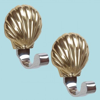 2 Traditional Robe Hook Bright Solid Brass Sea Crest Robe Hook Robe Hooks Bathroom Hook