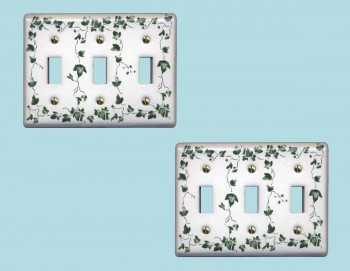 2 Switch Plate White Porcelain Ivy Triple Toggle Switch Switch Plate Wall Plates Switch Plates