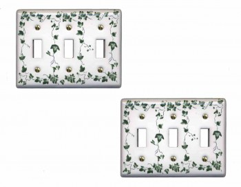 <PRE>2 Switch Plate White Porcelain Ivy Triple Toggle Switch </PRE>