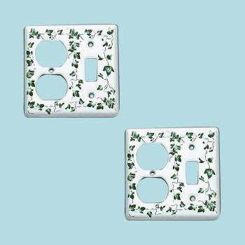 Switch Plate White Porcelain Ivy ToggleOutlet Switch Pack of 2 Switch Plate Wall Plates Switch Plates